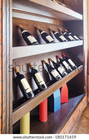 Closeup shot of wine shelf - stock photo