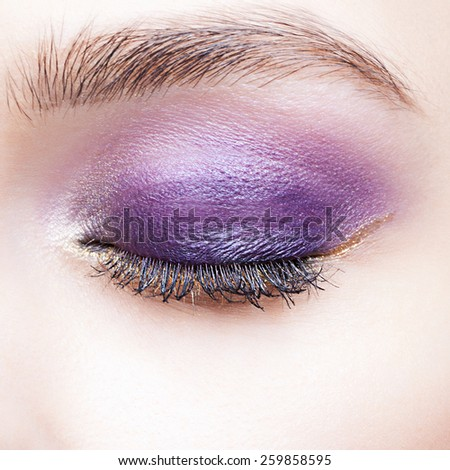 Closeup shot of woman closed eye and brows with violet eyelid day makeup - stock photo