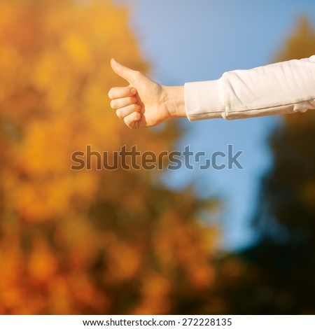 closeup showing thumbs up against the autumn sky and yellow leaves - stock photo