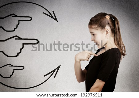 Closeup side profile portrait surprised,little girl getting unexpected attention from people, asking you talking to, mean me? pointing finger at herself isolated dark get background. Facial expression - stock photo