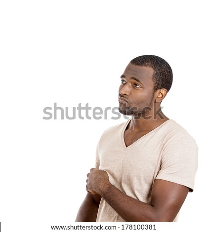 Closeup side view portrait of handsome young man, guy, student, employee, worker thinking, daydreaming, wondering, looking up, isolated on white background. Human face expression, emotions, reaction - stock photo