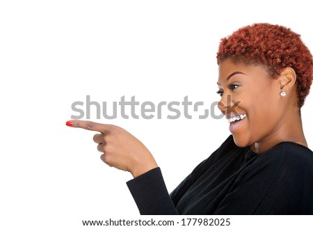 Closeup side view portrait of young, beautiful, excited happy woman smiling laughing, pointing finger at someone, isolated on white background. Positive human emotions, attitude, expressions, reaction - stock photo