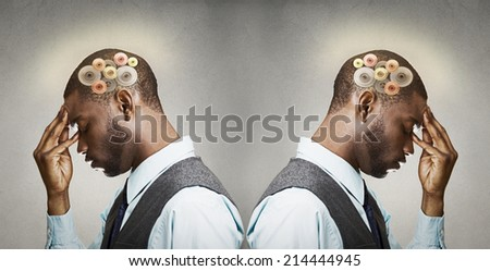 Closeup side view profile headshot two thoughtful men, back to back thinking hard, gear mechanism, illustration over head isolated grey wall background. Human face expression, emotions, body language - stock photo