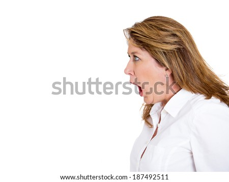 Closeup side view profile portrait, mad, angry, upset, hostile middle aged woman, worker, furious employee, yelling, screaming, isolated white background. Negative emotions, facial expression reaction - stock photo