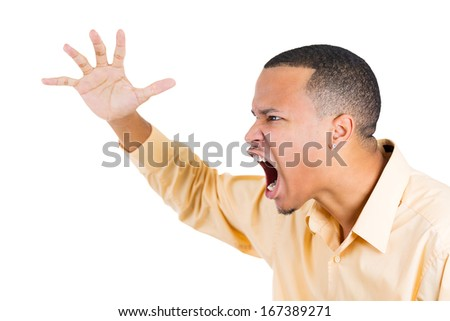 Closeup side view profile portrait of angry man with hand raised open mouth yelling, isolated on white background. Negative emotion facial expression feelings. Conflict problems and issues - stock photo