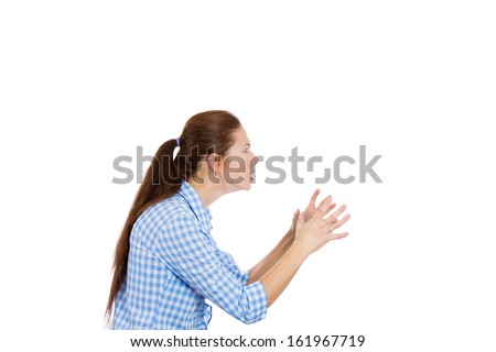 Closeup side view profile portrait of angry woman about to choke someone, yelling, screaming, shouting isolated on white background with copy space. Negative human emotions facial expressions - stock photo