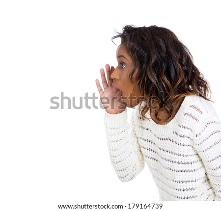 Closeup side view profile portrait of mad, angry, upset, hostile young woman, furious yelling, screaming hand to mouth, isolated on white background. Negative emotions, facial expressions reaction - stock photo