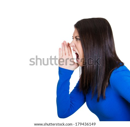 Closeup side view profile portrait of mad angry, upset hostile young woman, worker, furious employee, yelling hand to mouth, isolated white background. Negative emotions, facial expressions, reaction - stock photo