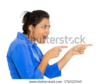 Closeup side view profile portrait of young woman pointing at someone recalling recognizing person she had seen in the past, isolate on white background. Positive emotion facial expression feelings. - stock photo