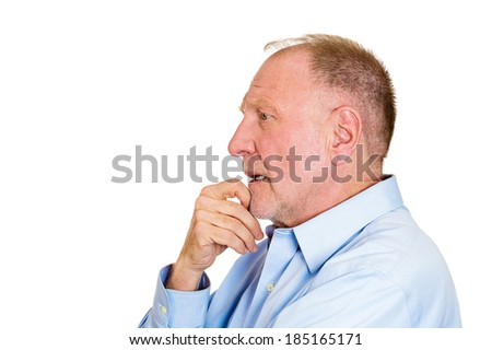 Closeup side view profile portrait senior mature man daydreaming deeply about something with chin on hand looking straight, isolated white background. Human emotion facial expressions feelings - stock photo