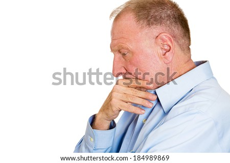 Closeup side view profile portrait senior mature man, old sad business guy, troubled, deep thought, isolated white background. Human emotions, facial expressions, life perception, aging, depression - stock photo