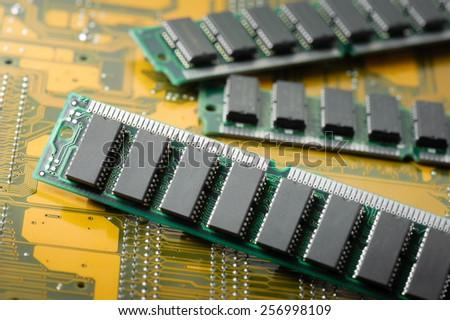 closeup SIMM 72-pin RAM (Old technology) - stock photo