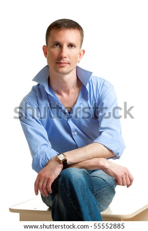 closeup sitting man portrait over white - stock photo
