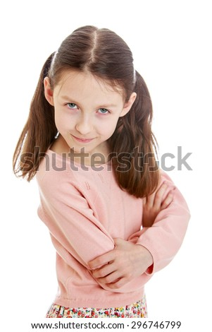 Closeup skinny dark-haired girl folded her arms reproachfully looking at the camera, the girl entered the theatrical way-Isolated on white