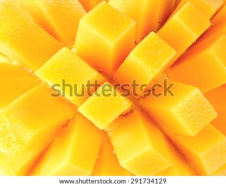 Closeup slice of mango background - stock photo
