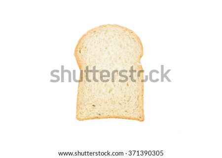 Closeup slice of white bread on white background