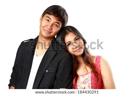 Closeup smiling asian couple in love, Isolated over white - stock photo