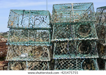 Closeup stack of lobster pot in french Brittany - stock photo