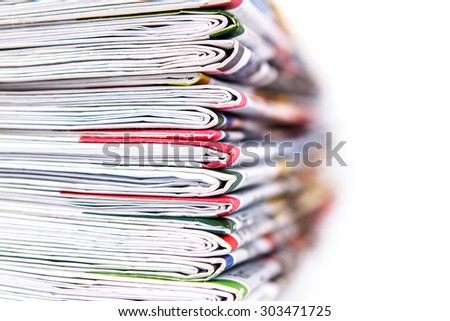 closeup stack of the newspaper - stock photo