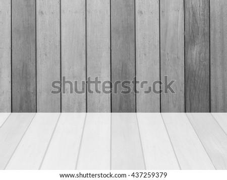 Closeup surface wood pattern at the old wood wall texture background  with reflection at the floor in black and white tone