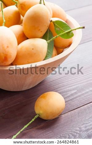Closeup sweet Marian plum thai fruit isolated on white background (Mayongchid Maprang Marian Plum and Plum Mango,Thailand) - stock photo