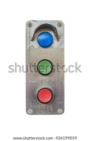 Closeup switch for power on off electric device isolated in white background - stock photo