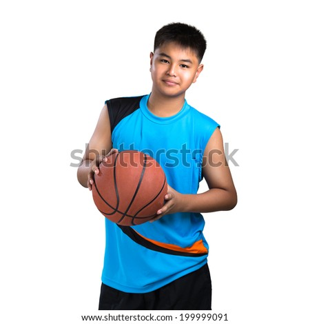 Closeup teenager boy playing with basket ball, Isolated over white - stock photo