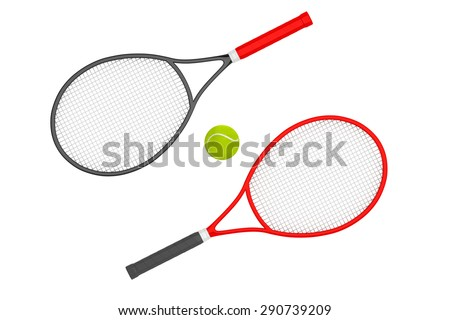 Closeup Tennis Rackets with ball on a white background  - stock photo