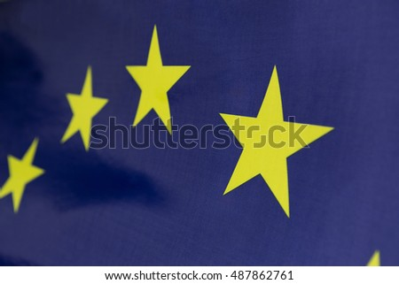 Closeup textile flag of European Union for background