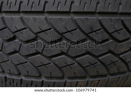 Closeup  texture of old black truck tire