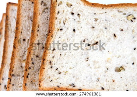 closeup the cereal and black sesame bread - stock photo