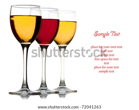 Closeup three wine glass isolated over white background and space for text - stock photo