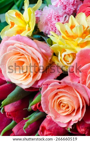 closeup to bunch of spring flowers - stock photo