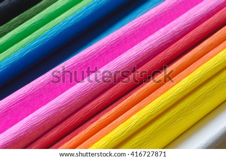 closeup to colorful crepe paper