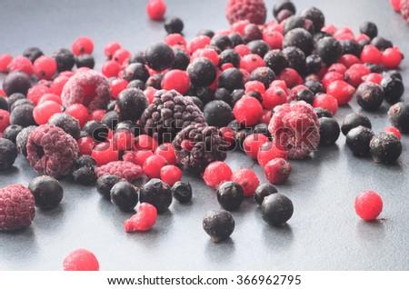 closeup to frozen mixed fruits - stock photo