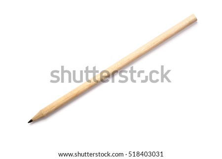 Closeup to natural wooden pencil, isolated on white background