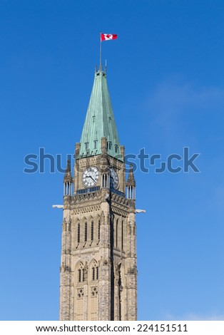 Closeup to the Ottawa Parliament Clock Tower - stock photo