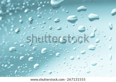 closeup to  water drops on glass background