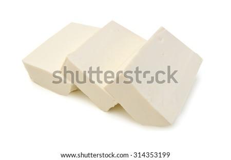 closeup tofu isolated on white background  - stock photo