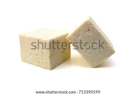 Closeup tofu isolated on white background