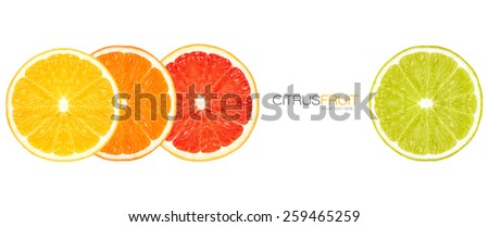 Closeup top view of lemon, orange, grapefruit and lime slices. Healthy fresh citrus fruits isolated on white background. Healthy diet concept. Template design with sample text.