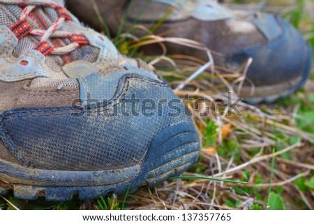 closeup touristic boots - stock photo