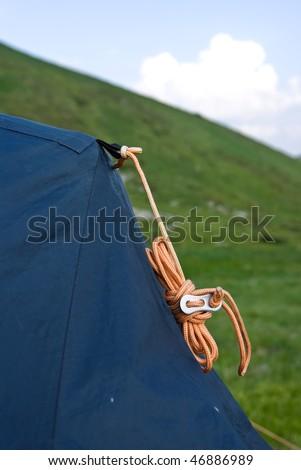 closeup touristic tent - stock photo