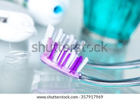 Closeup view dental health care objects - stock photo
