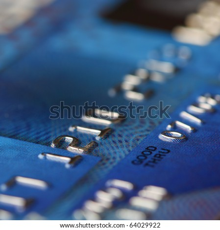 Closeup view of a credit card - stock photo