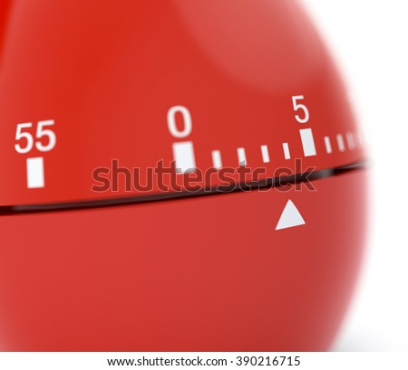 closeup view of a egg-timer, white background, concept of deadline (3d render) - stock photo