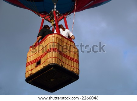 Closeup view of a hot air balloon gondola.
