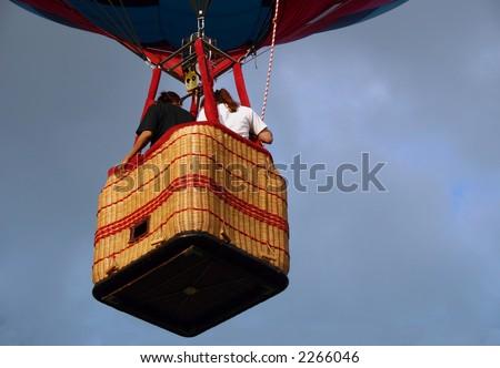 Closeup view of a hot air balloon gondola. - stock photo