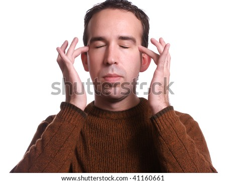 Closeup view of a man using EFT tapping to help relieve various ailments - stock photo