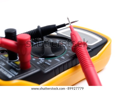 Closeup view of a multi functional multimeter device... - stock photo